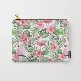 Watercolor Tropical Leaves Flowers Flamingo Cockatoo Carry-All Pouch