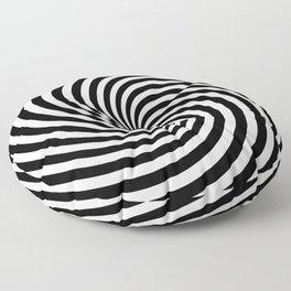 Black And White Op Art Spiral Floor Pillow