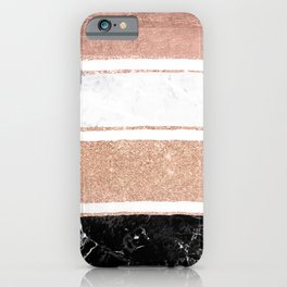 Faux rose gold glitter modern marble stripes pattern iPhone Case