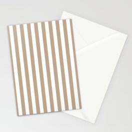 Pantone Hazelnut and White Stripes, Wide Vertical Line Pattern Stationery Cards