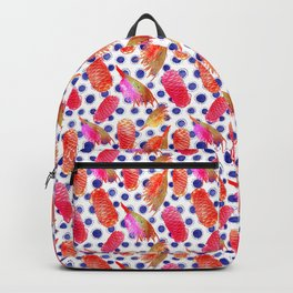 Bright Australian native floral print - grevillea and beehive ginger Backpack