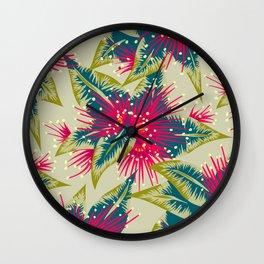 New Zealand Rata floral print (Day) Wall Clock