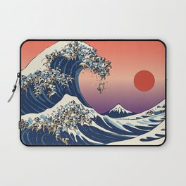 The Great Wave of Pugs / Square Laptop Sleeve