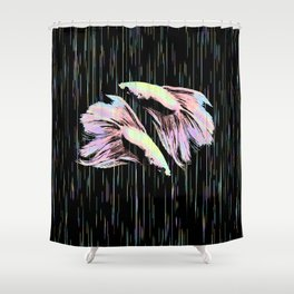 Pastel Siamese Fighting Fish In Electro Synchronicity Shower Curtain