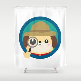 Dog detective with magnifying glass Shower Curtain