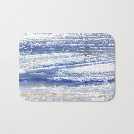Gray Blue Marble blurred watercolor texture Bath Mat