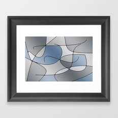 ABSTRACT CURVES #1 (Greys) Framed Art Print