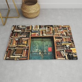 Library with books door entrance Rug