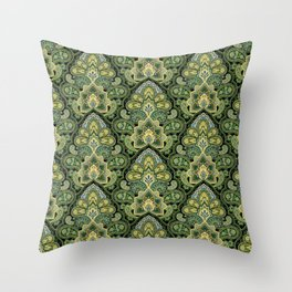 Green and Blue Paisley Throw Pillow