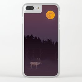 Full Moon - Winter Night With Reindeer At Edge Of Forest #decor #buyart #society6 Clear iPhone Case