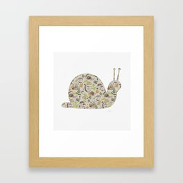 Woodland Snail in Watercolor Fungi Forest, Moss Green and Ochre Earth Animal Pattern Framed Art Print