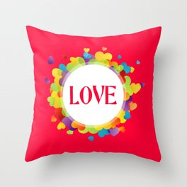 Red Love Hearts Throw Pillow