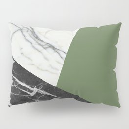 Black and White Marble with Pantone Kale Pillow Sham