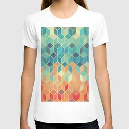 Colorful Squares with Gold - Friendly Colors and Marble Texture T-shirt