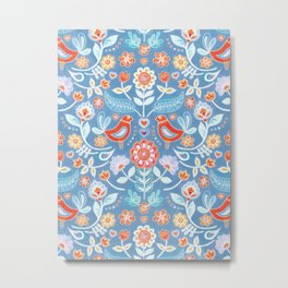 Happy Folk Summer Floral on Light Blue Metal Print