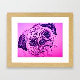 Little pug dog line drawing Framed Art Print