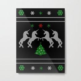 Unicorn Christmas Lover Metal Print