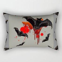 GREY ART OF FLYING BLACK BATS BLOODY  HALLOWEEN PARTY Rectangular Pillow