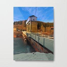 Hydropower station in winter wonderland | architectural photography Metal Print