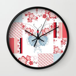 Cherry Blossom Butterfly Collection Wall Clock