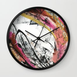 Motivation [4] : a colorful, vibrant abstract piece in pink red, gold, black and white Wall Clock