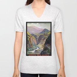 Route des Alpes, French Travel Poster Unisex V-Neck