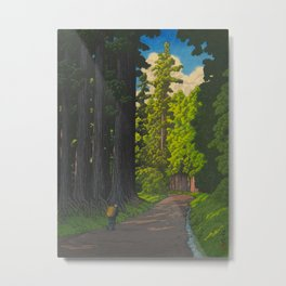 Vintage Japanese Woodblock Print Kawase Hasui Mystical Japanese forest Tall Green Trees Metal Print