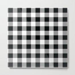 Buffalo Check Black White Plaid Pattern Metal Print