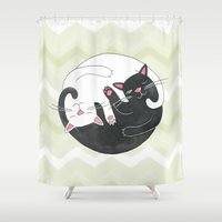 philosophy Shower Curtains featuring Cat Philosophy by Emily Andrus Lopuch