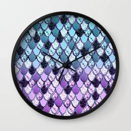 Purple Teal Mermaid Princess Glitter Scales #1 #shiny #decor #art #society6 Wall Clock