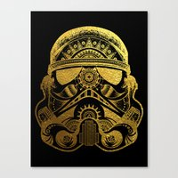 gold foil Canvas Prints featuring Mandala StormTrooper - Gold Foil by Spectronium - Art by Pat McWain
