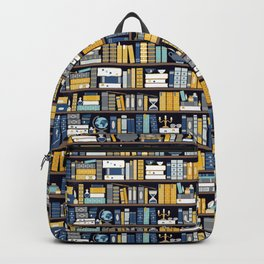 Book Case Pattern - Blue Yellow Backpack