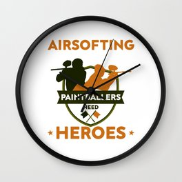 Airsofting Paintball Player Paintball Marker Gift Wall Clock