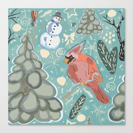 Seamless Winter Pattern with cute Cardinal Bird, Snowman and Spruce Tree Canvas Print