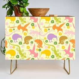 Animals Exotic Pastel Colors Shapes Pattern Credenza