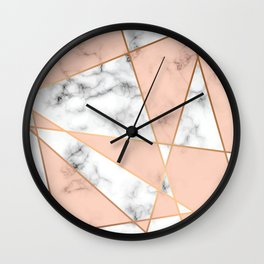 Marble texture design with golden geometric lines Wall Clock