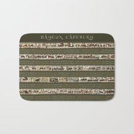Bayeux Tapestry on Army Green - Full scenes & description Bath Mat