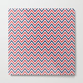 Nautical Zigzag - Red and Navy Blue Chevron Metal Print