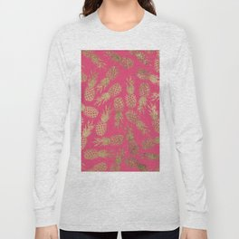 Tropical neon pink faux gold pineapple fruit pattern Long Sleeve T-shirt