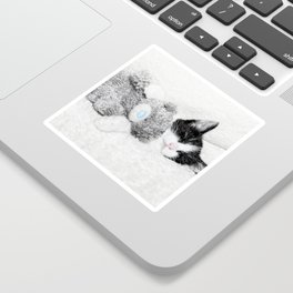 Kitten and teddy Sticker