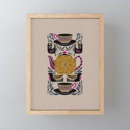 Tea Lovers Folk Art // Hand Drawn Teapot, Teacups, and Tea Leaves with Intricate Patterns Framed Mini Art Print