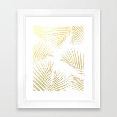 Golden cane palm leaf - gold Framed Art Print