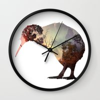 kiwi Wall Clocks featuring kiwi by Rosa Picnic