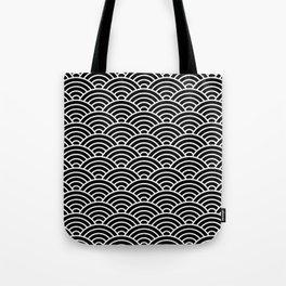 Japanese fan pattern in black Tote Bag