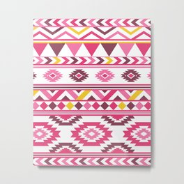 Modern Tribal Aztec – Mulberry Pink and Yellow Metal Print