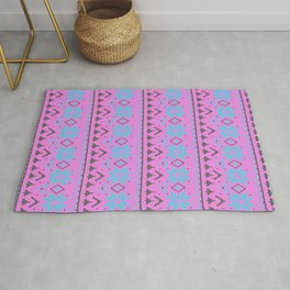 Knitted Christmas pattern, pink blue Rug