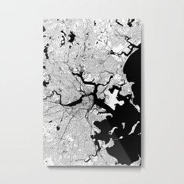 Boston Black and White Map Metal Print