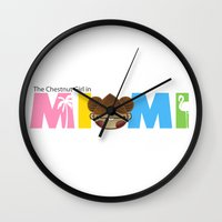 miami Wall Clocks featuring Miami by Ed Warner