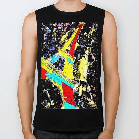 Eiffel Tower Abstract Biker Tank