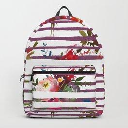 Modern pink orange tropical floral stripes pattern Backpack